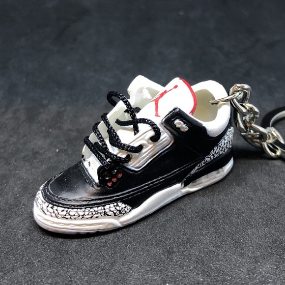 Air Jordan 3 III Black Cement 3D Sneakers Keychain